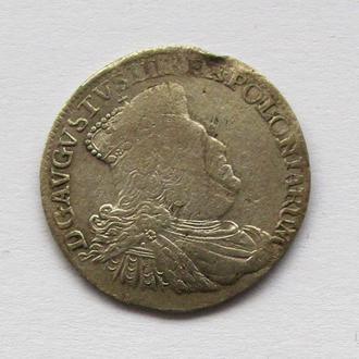 6 грошей Август III Саксонец 1755 г., г. Лейпциг.R