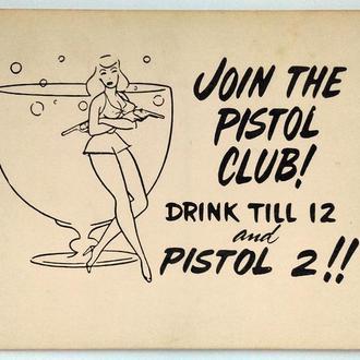 Открытка почтовая карточка Pistol Club 1960-е гг. США Fv8.4