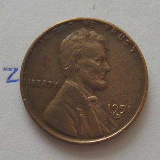 США, 1 цент 1951 года (Д).