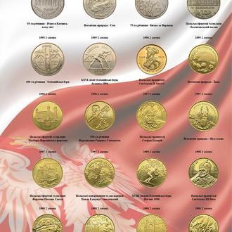 Комплект листов с разделителями для 2-х злотовых монет Польши