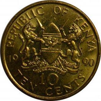 Кения 10 центов 1990 аUNC Тип 3