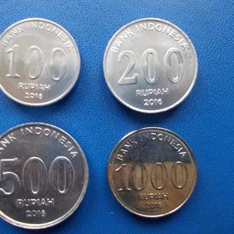 Индонезия 2016г _ 100-200-500-1000 Рупий UNC _ 5 наборов = 20 монет