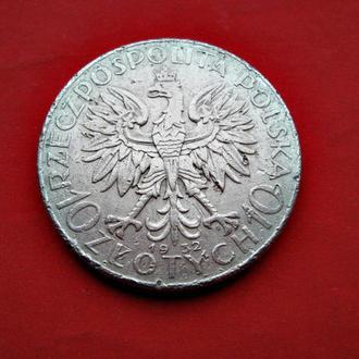 Срібна монета 750 проби 10 злотих ПОЛЬЩА 1932 рік Оригінал