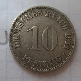 ГЕРМАНИЯ. 10 пфеннигов 1911 года.