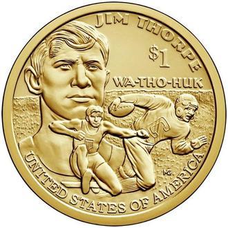 "Shantaal, США 1 доллар 2018, Сакагавея: Легенда спорта ""Джим Торп"""