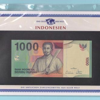ИНДОНЕЗИЯ банкнота 1000 Rupiah UNC из серии «Das Geld Der Welt» + сертификат + альбомный лист