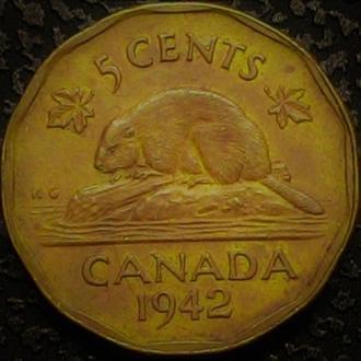 Канада 5 центов 1942 год, РЕДКАЯ РАЗНОВИДНОСТЬ ЛАТУНЬ!!  ОТЛИЧНАЯ