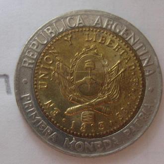 Аргентина 1 песо 1995 г. (биметалл; состояние).