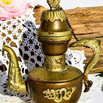 Антикварный кофейник,заварник,чайник! Дракон! Азия-Персия. Медь!