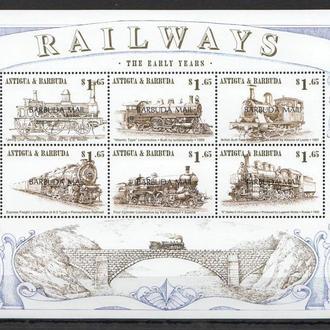 Барбуда ** Транспорт жд локомотивы поезда паровозы МЛ MNH