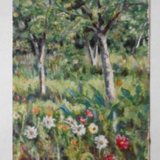 Сад с цветами и деревьями 1970е гг. СССР картон масло