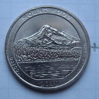 """США. 25 центов 2010 года (OREGON MOUNT HOOD """"P"""")."""