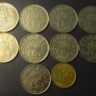 5 крон Швеція (порічниця) 10шт, всі різні