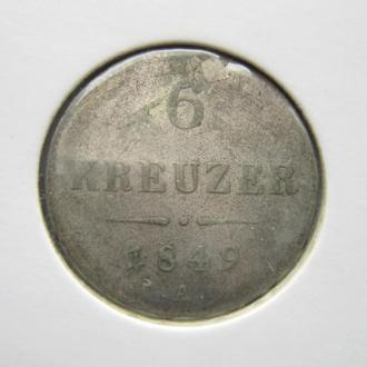 Монета 6 крейцеров Австрия 1849 А Австро-Венгрия серебро