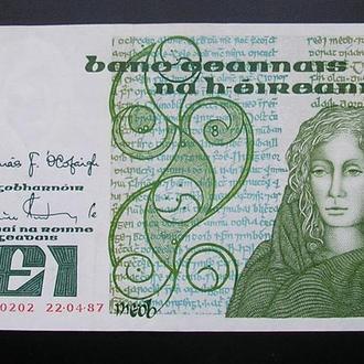 Ireland Ирландия 1 фунт 1987 AU-UNC