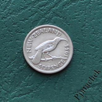 Новая Зеландия 6 пенсов 1933 Георг V Серебро №2