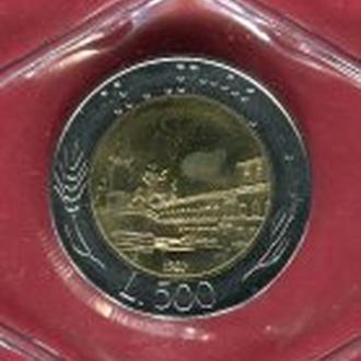 Италия 500 лир 1987 UNC  запайка