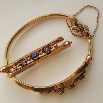 Антикварный ювелирный гарнитур- браслет, брошь, серьги