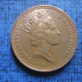 Монета 1 пенни Великобритания 1987