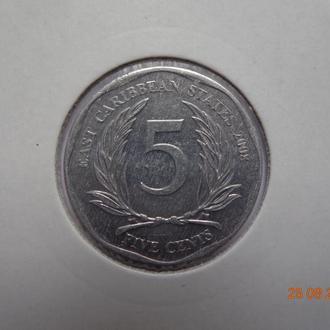 Восточно-Карибские штаты 5 центов 2008 Elizabeth II отличное состояние редкая