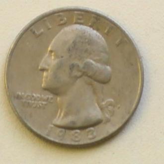 25 Центов 1983 г США Квотер 25 Центів 1983 р США
