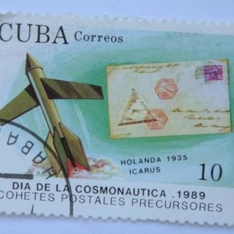 Марка почта Куба 1989 День космонавтики Икарус
