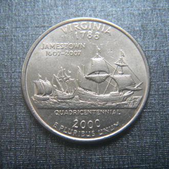 США 25 центов Вирджиния P 2000