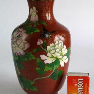 Антикварная коллекционная ваза клуазоне Cloisonne латунь #2