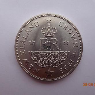 """Новая Зеландия 1 крона 1953 Elizabeth II """"Coronation - Crowned monogram"""" СУПЕР состояние очень редка"""