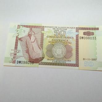 Бурунди 50 франков 2007, пресс, unc,  оригинал
