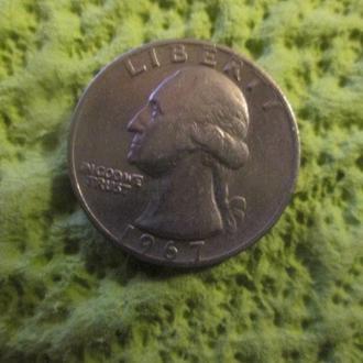 Четверть доллара с изображением Вашингтона,США.1967 год.Перевёртыш.