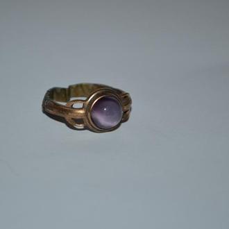 интересное кольцо с камнем металл позолота винтаж хорошее состояние