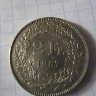 2 Fr. Франка Швейцария Helvetia 1987 Швейцарських монета два