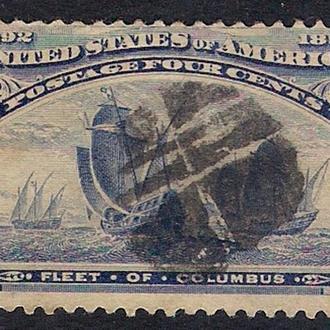 1893 год. 4-cents США  Fleet of Columbus.