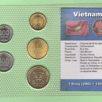 Набор 6 монет ВЬЕТНАМ VIETNAM запайка блистер