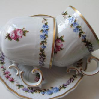 Коллекционная Чашка  PER LAVAZZA. Цветы. роспись сус.Золотом. Идеал.