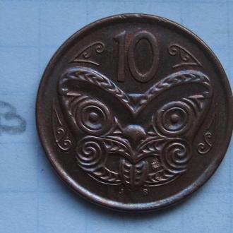 НОВАЯ ЗЕЛАНДИЯ 10 центов 2007 г. (МАСКА МАОРИ).