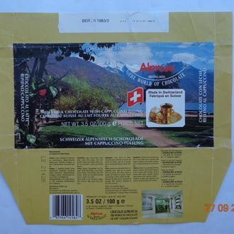 "Обёртка от шоколада ""Swiss milk chocolate with Cappuccino"" 100 g (Chocolat Alprose SA, Швейцария)"