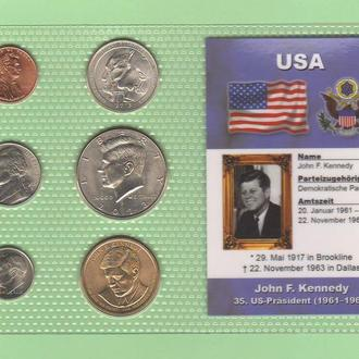 Набор монет США: 35 -й Президент США - Джон Ф. Кеннеди - John F. Kennedy пластик блистер запайка
