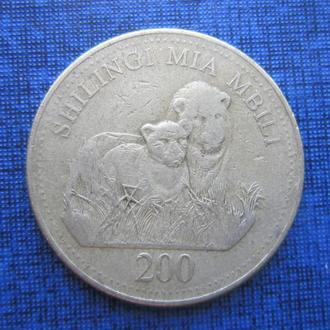 монета 200 шиллингов Занзибар Танзания 1998 фауна лев
