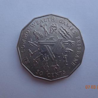 """Австралия 50 центов 1982 Elizabeth II """"XII Commonwealth Games - Brisbane"""" отличное состояние"""