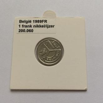 Бельгия 1 франк, 1989 г. В оригинальной запайке.