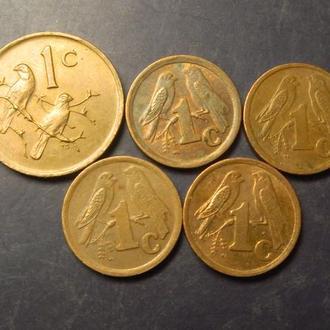 1 цент Південна Африка (порічниця) 5шт, всі різні