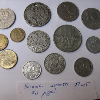 Монети Злоті Злотые Польща Польша Набір 13 шт