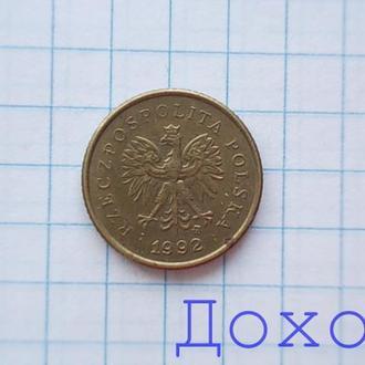 Монета Польша Polska 1 грош Grosz 1992 №2