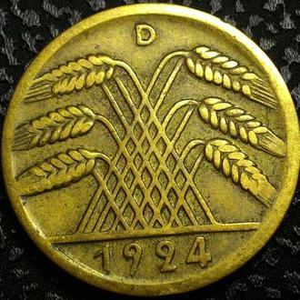 Германия 10 пфеннигов 1924 D год
