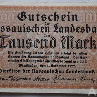 Германия 1000 марок 1922г. Региональный Банк Нассау
