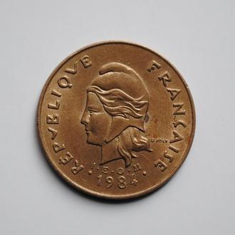 Французская Полинезия 100 франков 1984 г., UNC, 'Заморское сообщество Франции (1965-2015)'