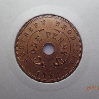 Южная Родезия 1 пенни 1951 George VI СУПЕР состояние очень редкая