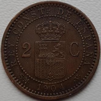 Испания 2 сантимо 1904 год   ОТЛИЧНАЯ!!!!